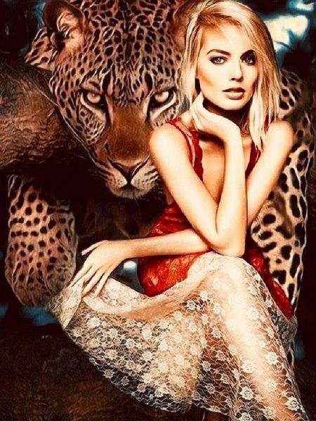 Leopard med kvinde i diamond paint