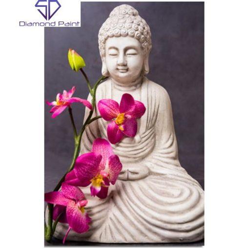 Statue med blomst i diamond paint