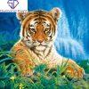 Tigerunge på græs i diamond paint