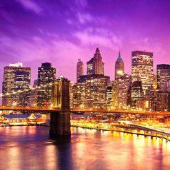 'Oplyst bro foran lyserød himmel i diamond paint