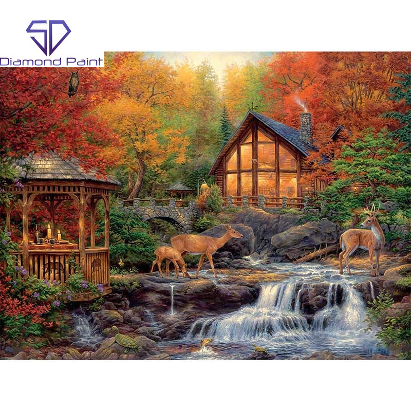 Diamond Painting - Hjortefamilie ved hus og lille vandfald thumbnail