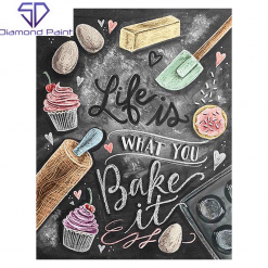 Life is what you bake it (bagerbillede) i diamond paint