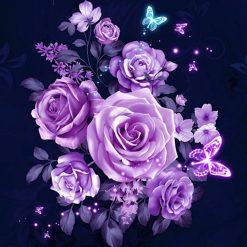 Mange lilla roser i diamond paint
