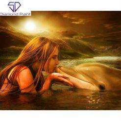 Pige kysser delfin i diamond paint