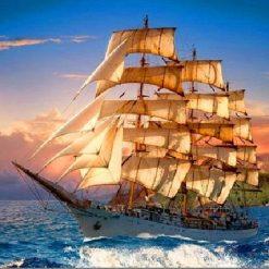 Sejlskib på blåt hav i diamond paint