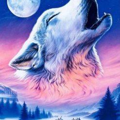Ulv hyler foran månen i diamond paint