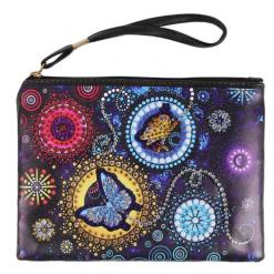 Pung med sommerfugl og runde mønstre i diamond paint