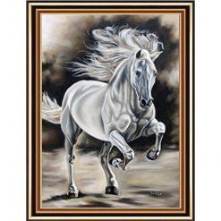 Hvid hest med indbygget ramme i diamond paint