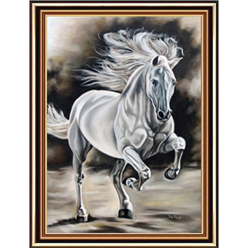 Diamond Painting - Hvid hest med indbygget ramme thumbnail
