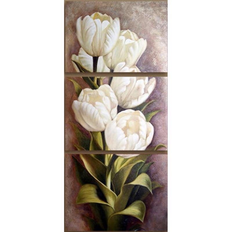 Diamond Painting - Hvide tulipaner -  3-delt thumbnail