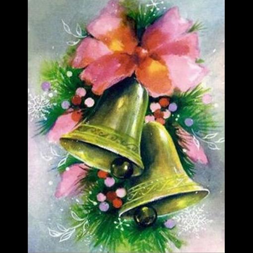Juleklokker med lyserød sløjfe i diamond paint