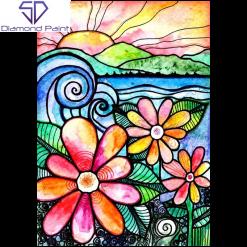 Kunstneriske blomster i diamond paint