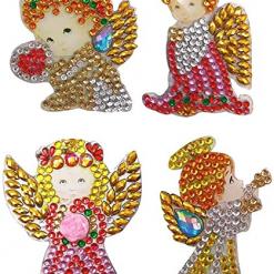 Nøgleringe med engle i diamond paint