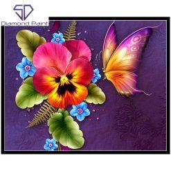 Orkide og sommerfugl i diamond paint