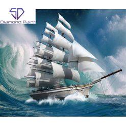 Sejlskib med stor bølge bagved i diamond paint