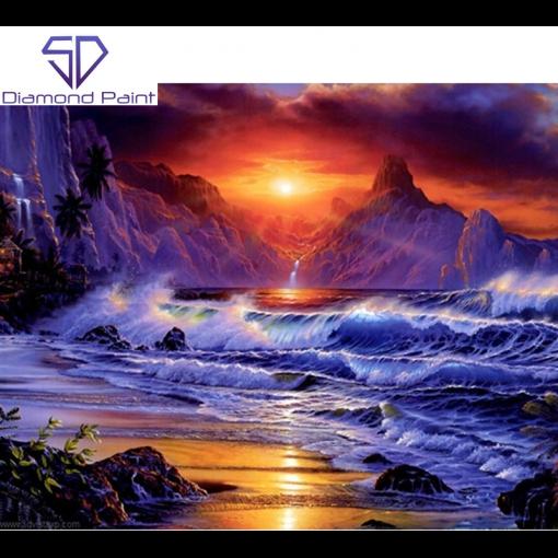 Solnedgang bag store bølger i diamond paint