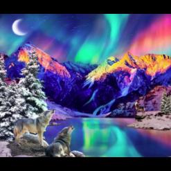 Nordlys og ulve i diamond paint