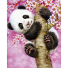 Panda i lyserødt træ i diamond paint