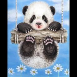 Panda på gynge i diamond paint