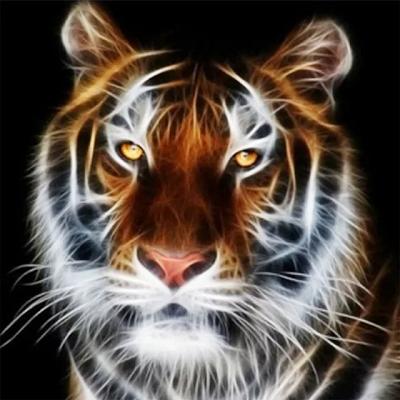 Tiger med sort baggrund i diamond paint