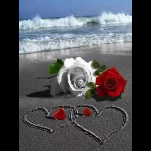 Roser og hjerter i diamond paint