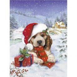 Hund med gave i sneen i diamond paint