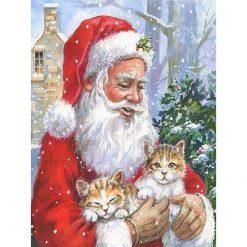Julemand med kattekillinger i diamond paint