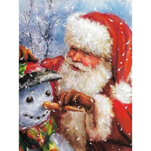 Julemand med snemand i diamond paint