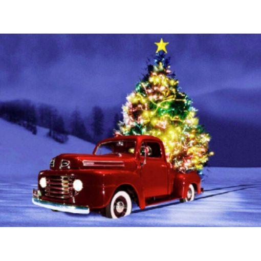 Juletræ på rød bil