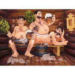3 mænd i sauna i diamond paint