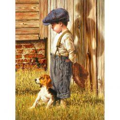 Dreng med hund og baseballhandske - diamond paint
