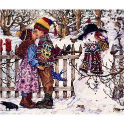 Dreng og pige kysser ved snemand - diamond paint