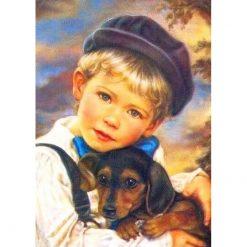 Dreng og hundehvalp i diamond paint