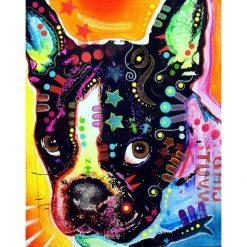 Hund med farver og symboler