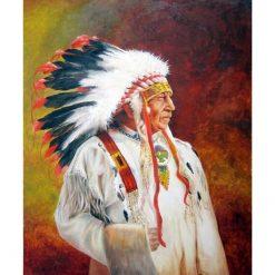 Indianerhøvding med sorte og hvide fjer i diamond paint