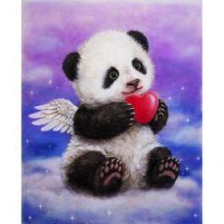 Panda med vinger i diamond paint