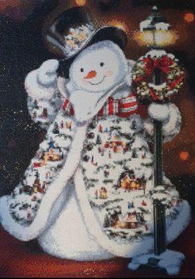Snemand med julefrakke - færdigt resultat