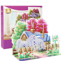 3D-billede af to heste foran lyserøde træer
