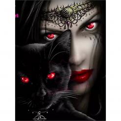 Dame med sort kat i diamond paint