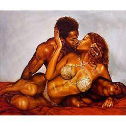 Mand kysser dame i diamond paint